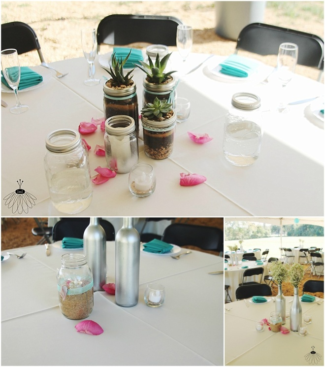 little miss lovely floral design // succulent mason jar centerpieces with babys breath wine bottles