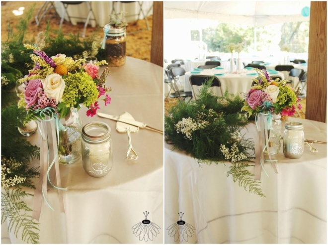 little miss lovely floral design // babys breath garland and toss bouquet on cake table