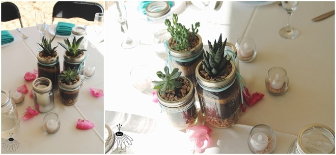little miss lovely floral design // sotterley plantation wedding // succulent in mason jar centerpiece