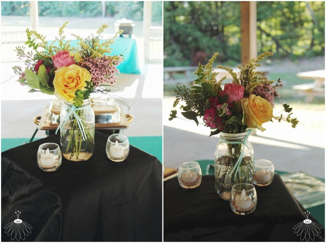 little miss lovely floral design // mason jar centerpiece