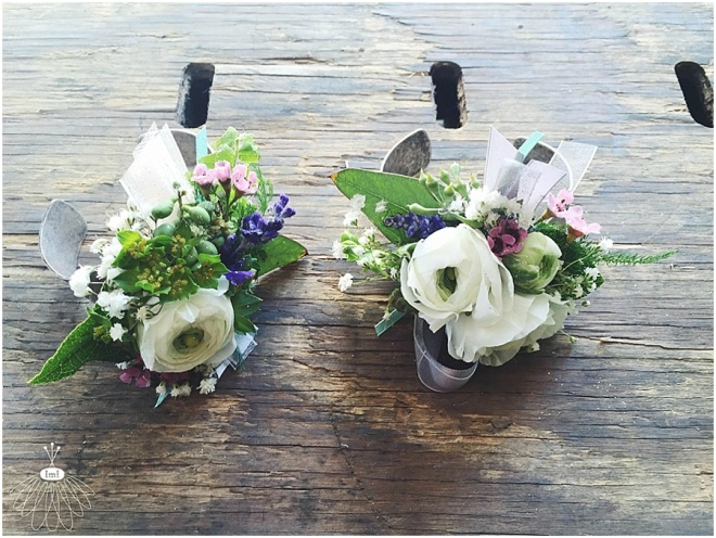 little miss lovely floral design // white ranunculus with purple and turquoise accent wrist corsages