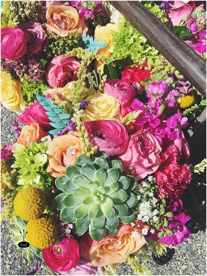 little miss lovely floral design // bright bohemian wedding bouquets with succulents