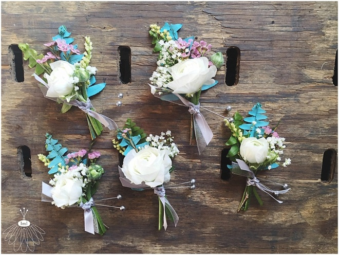 little miss lovely floral design // turquoise and white bohemian boutonnieres