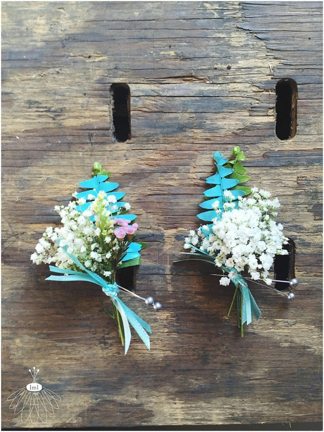 little miss lovely floral design // turquoise and babys breath boutonnieres