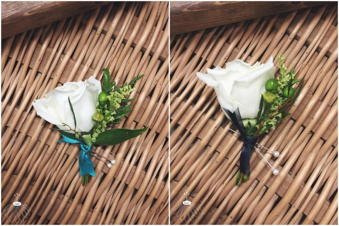 little miss lovely floral design // white rose with green accent boutonniere