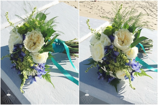 little miss lovely floral design // ocean city wedding florist // blue white green teal wedding bouquet