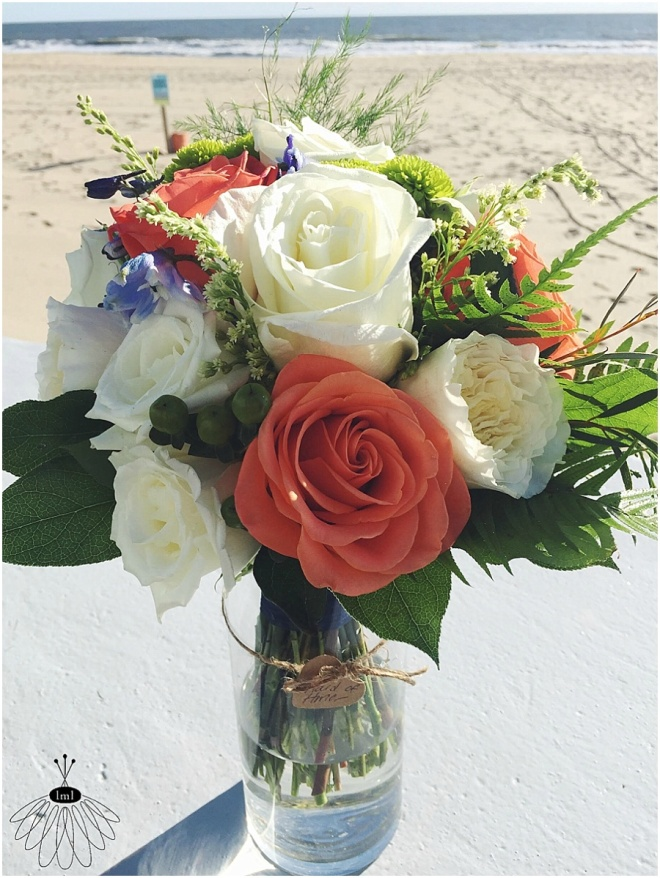little miss lovely floral design // ocean city maryland wedding florist // orange green blue white bouquet