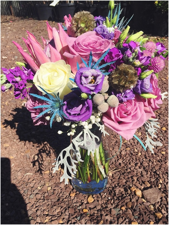 little miss lovely floral design // pink purple teal mermaid bridal bouquet // golden sands wedding ocean city maryland