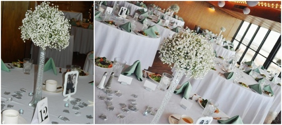 little miss lovely floral design // babys breath Eiffel tower vase centerpieces // golden sands ocean city maryland