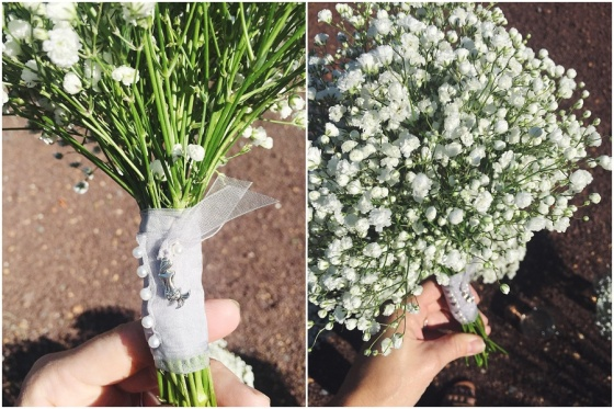 little miss lovely floral design // babys breath bouquets with mermaid charm