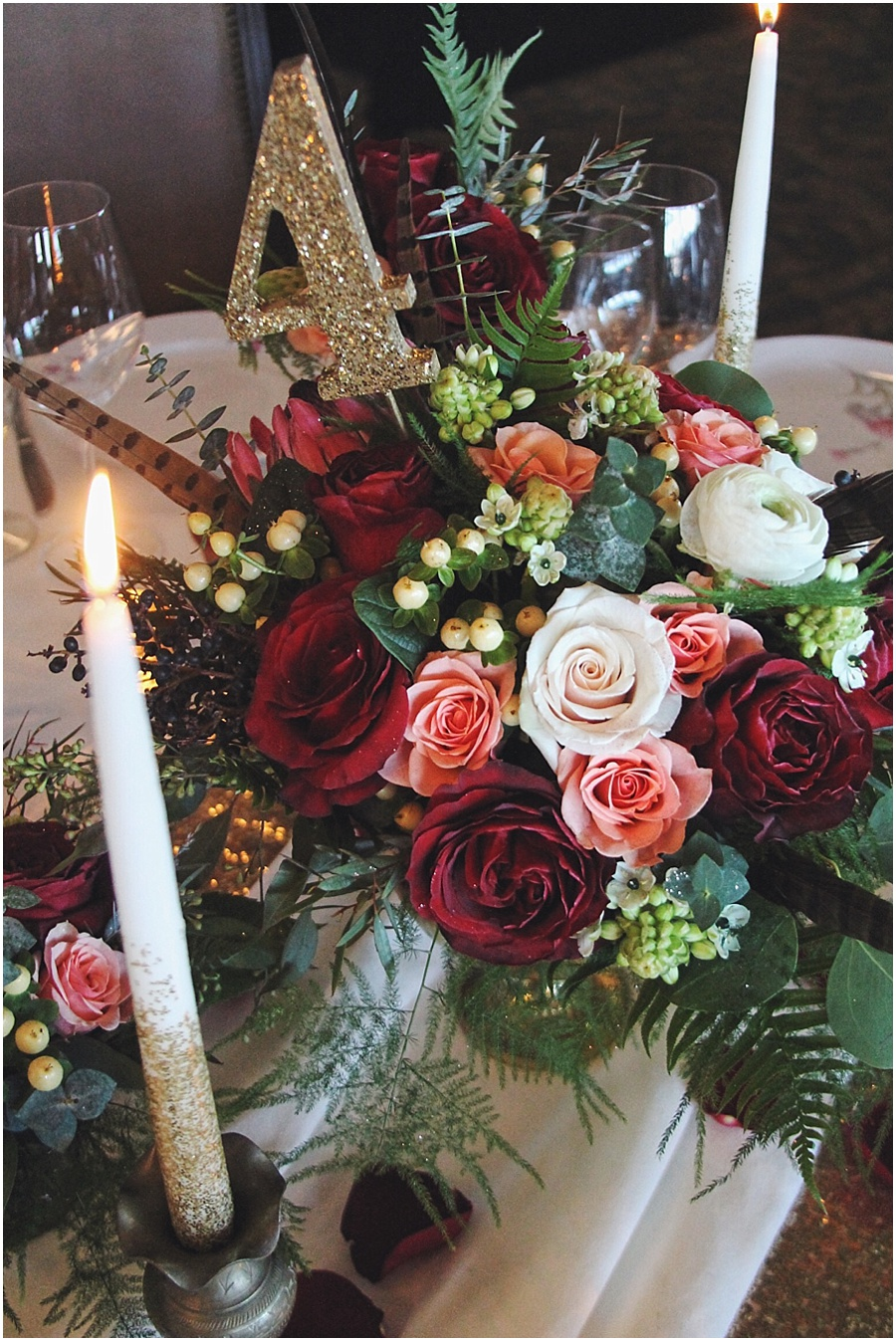 little miss lovely floral design // rich red, ivory, gold wedding centerpiece