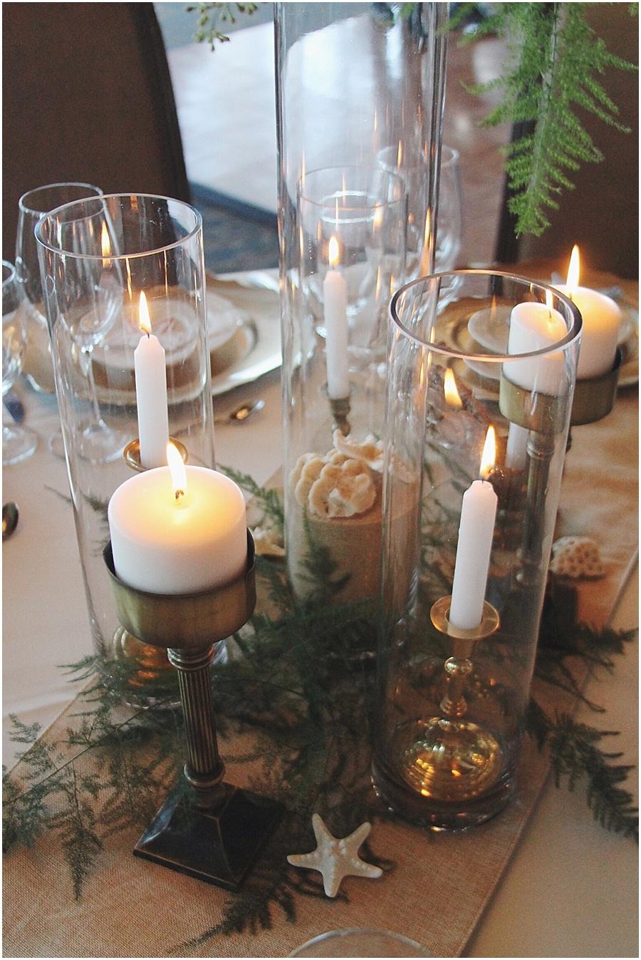 little miss lovely floral design // brass candles nautical fern centerpiece