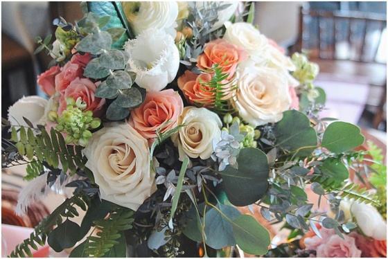 little miss lovely floral design // rose gold, peach, pink & teal wedding centerpieces