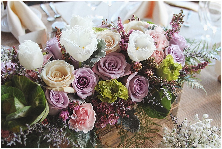 little miss lovely floral design // spring inspired pastel rustic wedding centerpiece